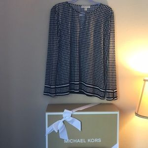🍂Houndstooth Michael Kors Long Sleeve Blouse❄️